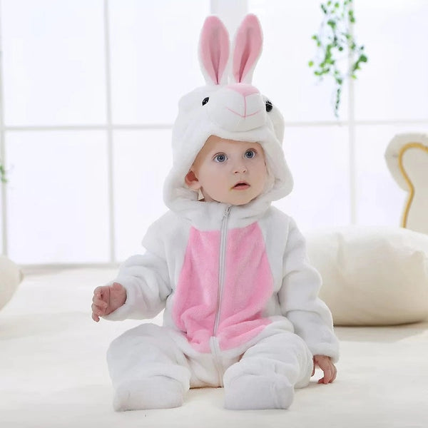 Adorable Baby Fleece-lined Bunny Style Jumpsuits Pink and White