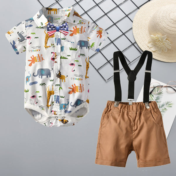 3-Piece Baby Boys Clothing Outfits Set Short-sleeved Turn Down Collar Cartoon Animal Bodysuit and Braces Shorts