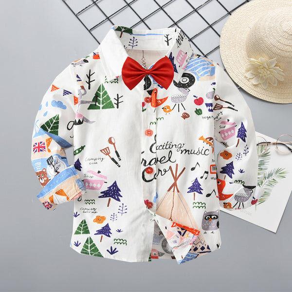 Spring Autumn Cartoon Print Cotton Shirt with Bow Tie for Baby Big Kids