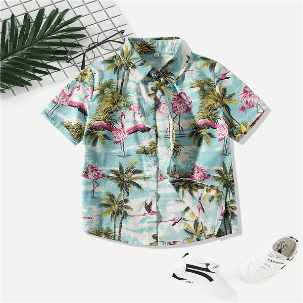 Stylish Toddler Little Boy Coconut Tree Flamingo Turn Down Collar Shirt