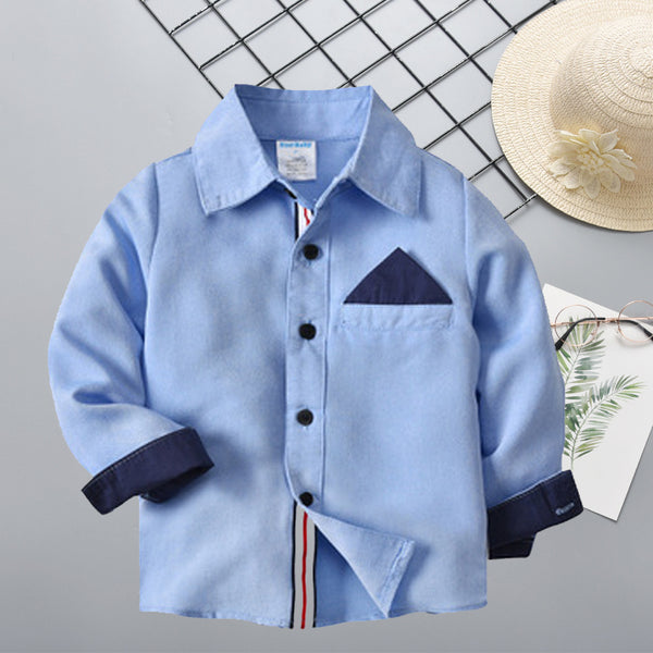 Blue Long Sleeve Fit Plaid Oxford Shirt for Toddler Big Boys