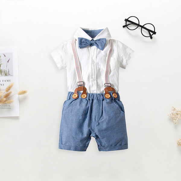 Cotton Babywear 4-Piece Outfits Set Short Sleeve Button Down White Bodysuit and Adjustable Shoulder Straps Shorts and Bow Tie