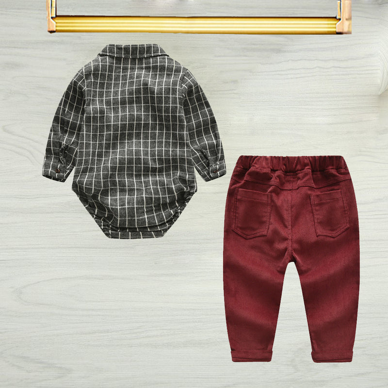 Spring 3- Piece Baby Boys Clothes Set Checked Bodysuit and Corduroy Pants and Bow Tie