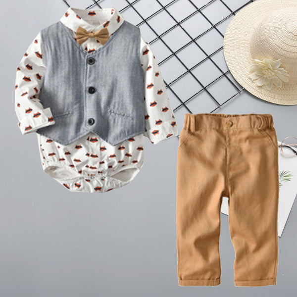 Fox Print Romper Vest Pants Set Baby Boys Long-sleeve Top Trousers