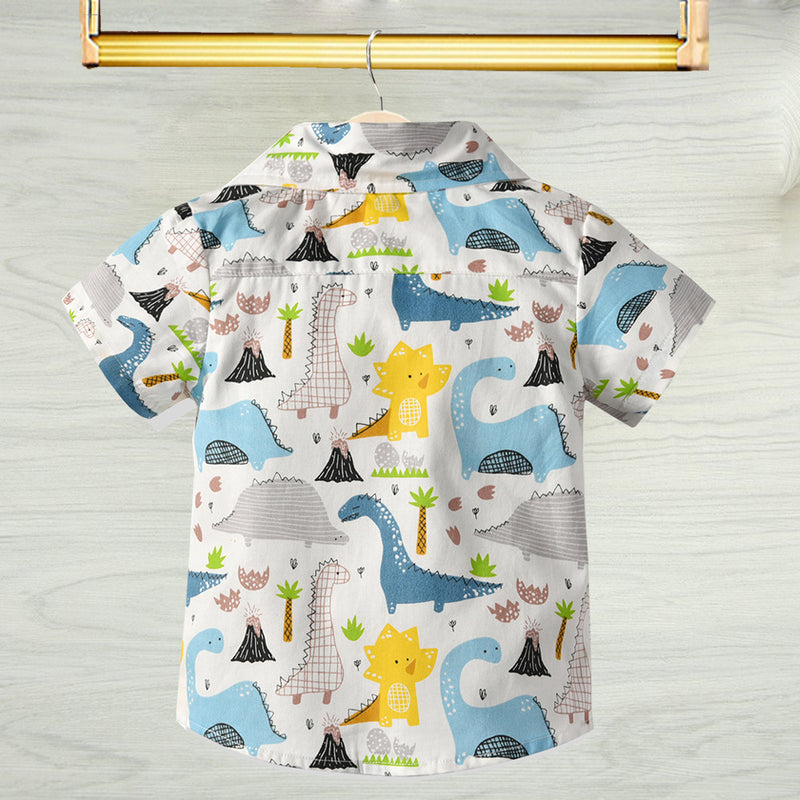 Summer Little Baby Boy Top Dinosaur Turn Down Collar Shirt