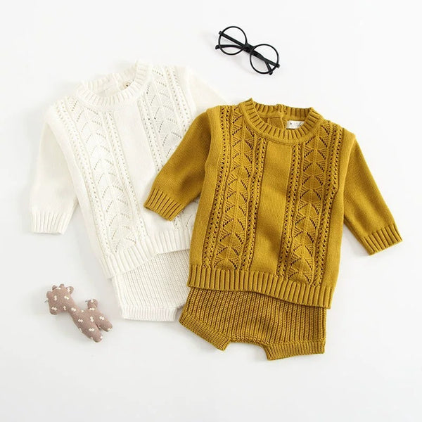 2-piece Outfit Set Cotton Knitted Pierced Long Sleeves Top and Shorts White and Yellow