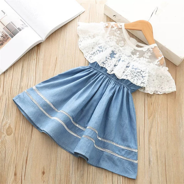 White Lace Trim Flower Patchwork Denim Dress
