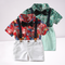 4-Piece Hawaii Style Baby Toddler Boy Outfit Shirt Matching Bowtie+Suspender Shorts
