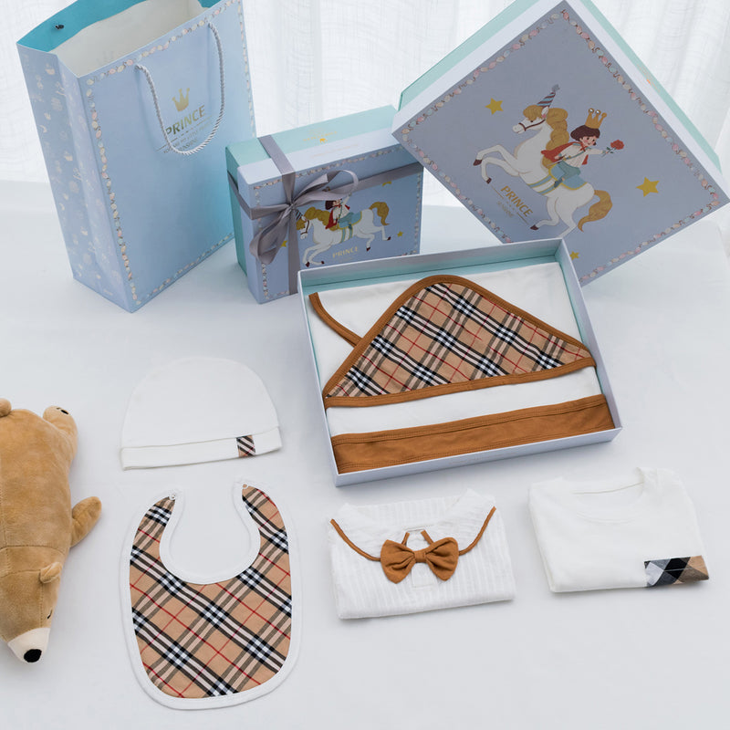 British Style Infant Baby Boy Clothes Gift Box 6-Pack