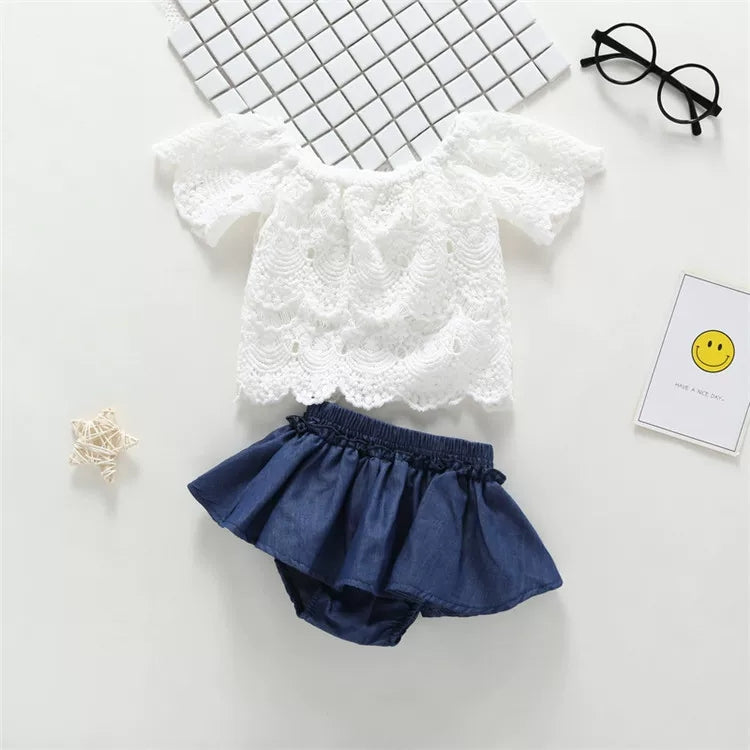 Summer Infant Little Girl Outfits Set White Flower Pierced Lace Top +Panties