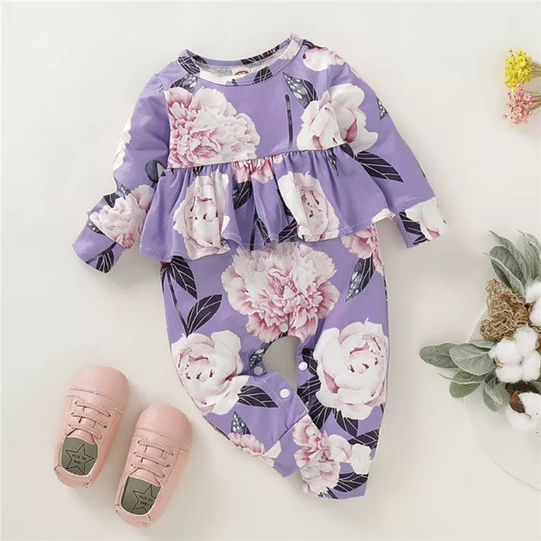Baby Girl Big Flower Long Sleeves Autumn Jumpsuit