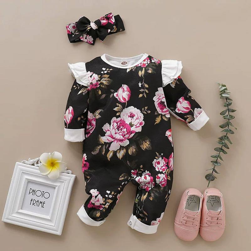 2-Piece Infant Girl Long Sleeve Floral Printed Jumpsuit + Headband