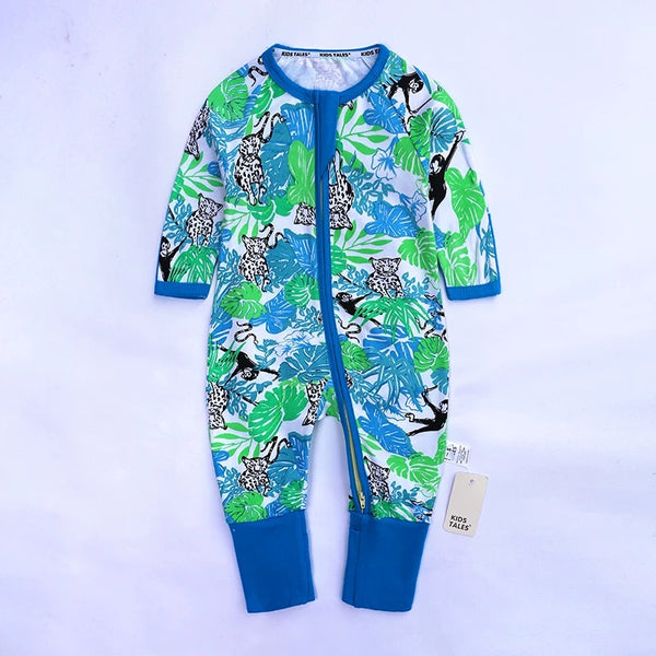 Fall Baby Animal Leaf Print Zipper Overalls