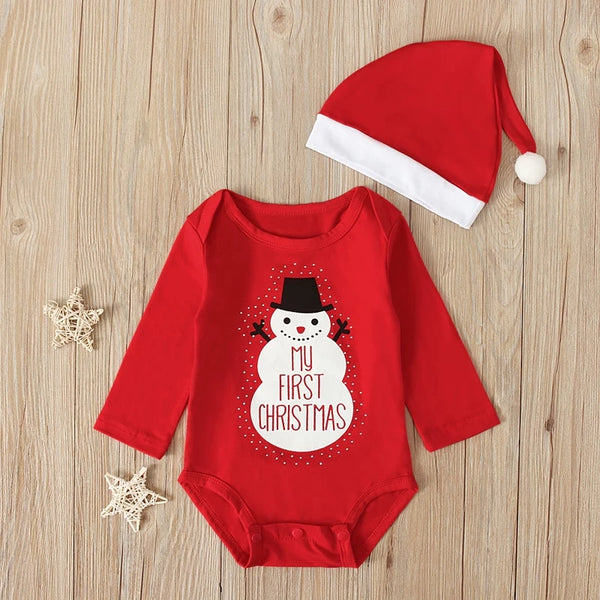 2-Piece Baby Unisex My First Christmas Snowman Romper Matching Hat
