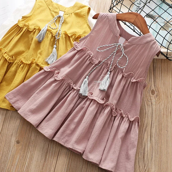 Tassel Trimmed Sleeveless Ruffle Dress For Toddler Little Girl