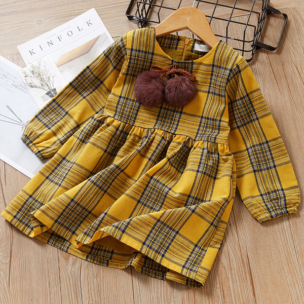 One-Piece Dress Little Big Girl Pom Pom Plaid Casual Dress Spring Autumn