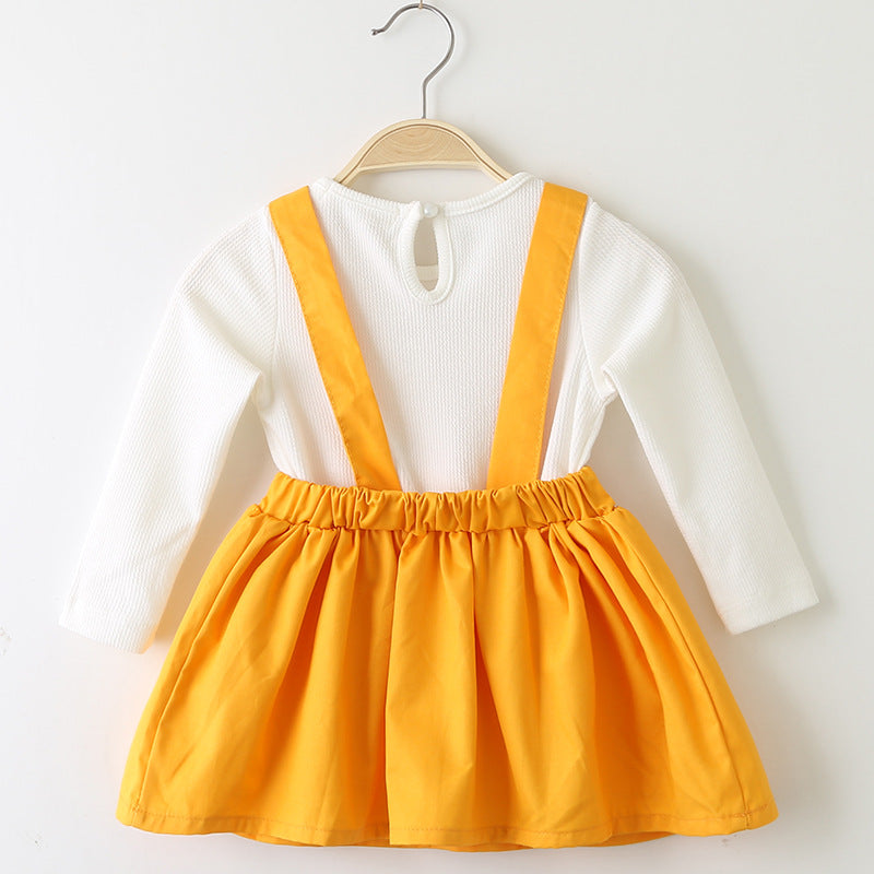 Cute Baby Girl Bunny Style Fake Two Piece Dress