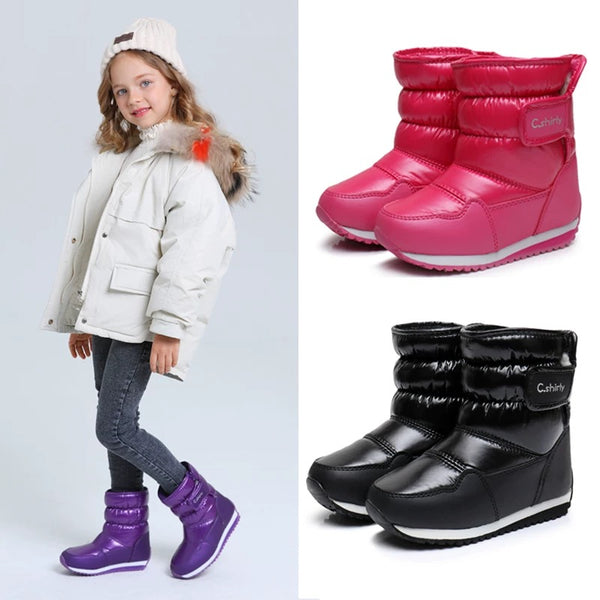 Toddler Big Kids Adult Winter Waterproof Solid Color Snow Boots 3-color