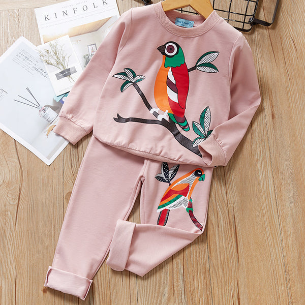 2-Piece Baby Toddler Girls Bird Print Pullover and Pants Set