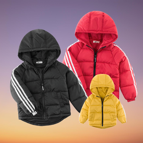 Winter Big Boys Outdoor Side Stripe Padded Coat 3-color