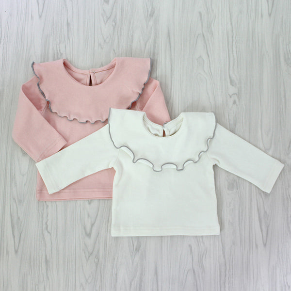 Ruffled Collar Long Sleeve Cotton Top Shirt for Babies