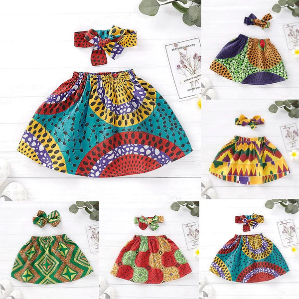 2-Piece Vintage Style Infant Toddler Girl Skirt Matching Headband