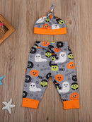 3-Piece Baby Boy Halloween Outfit Bodysuit+Trousers+Hat