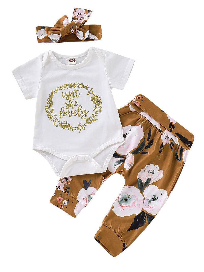 ISN'T SHE LOVELY Romper+Flower Pants+Headband