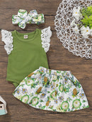 3-Piece Baby Outfit Flutter Sleeve Green Bodysuit +Flower Skirt+Headband
