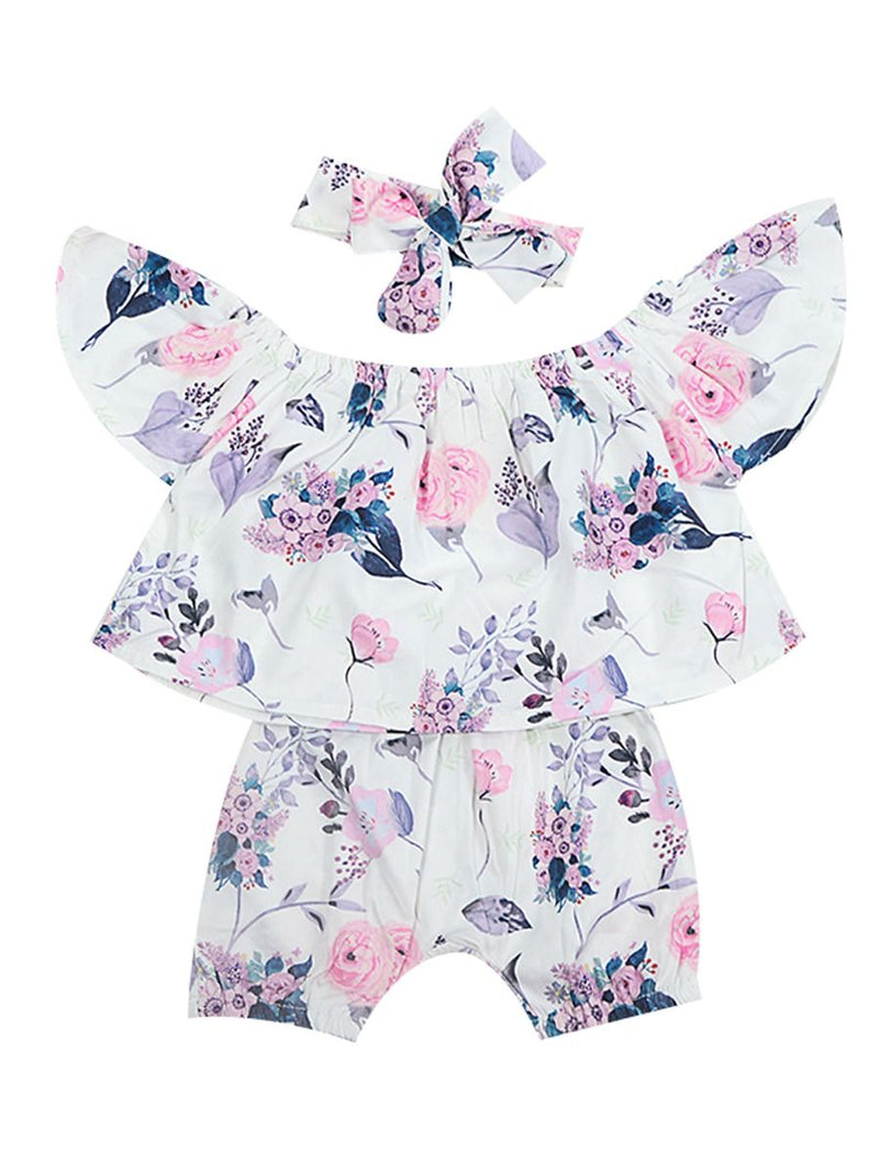 3-Piece Flower Baby Outfits Off Shoulder Top + Shorts +Headband Summer