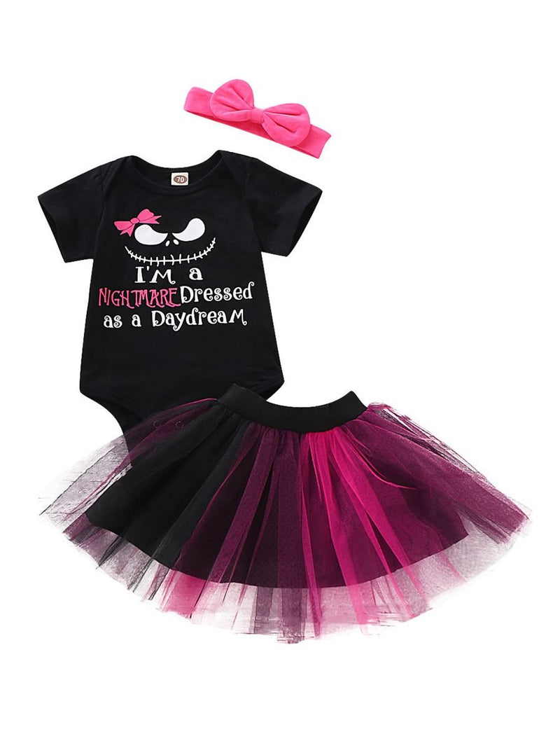 3-Piece Baby Girl Short Sleeves Halloween Outfits Romper + Tulle Skirt + Headband