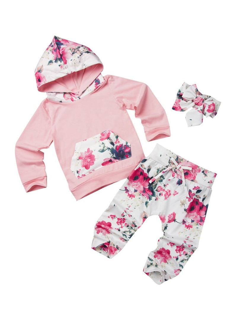 Baby Girl 3-Piece Floral Causal Hoodie Matching Pull-on Pants+Headband