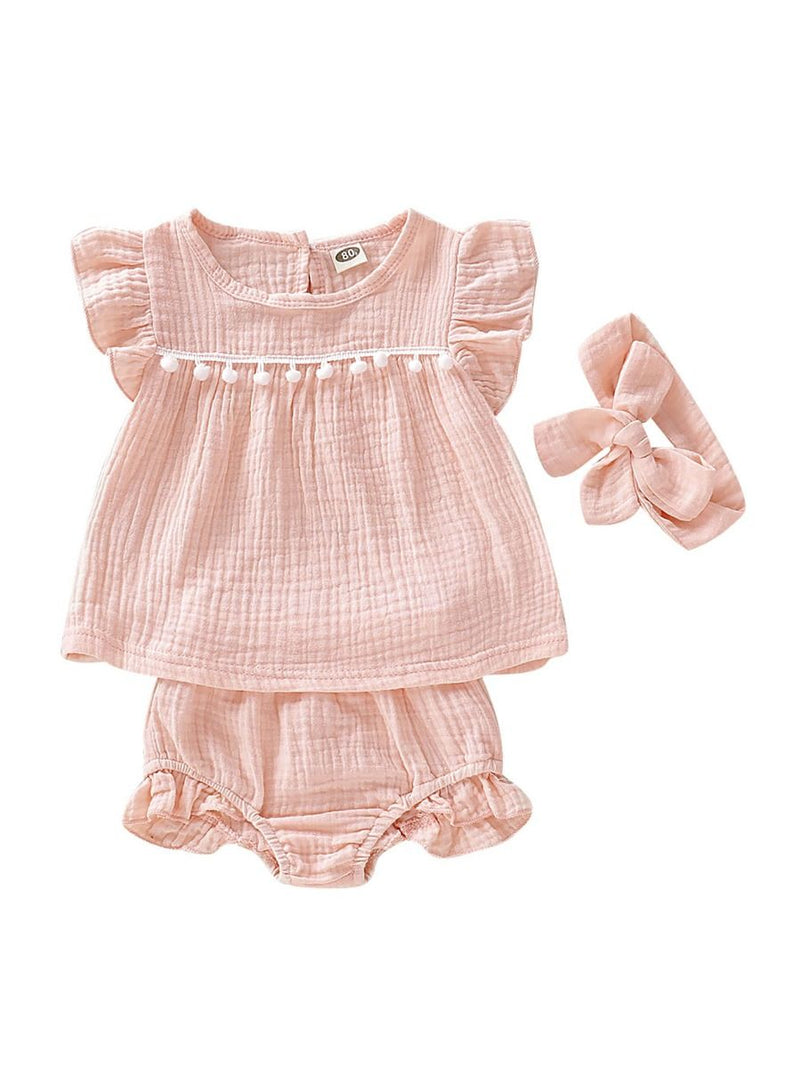 Baby Girls Solid Color Outfit