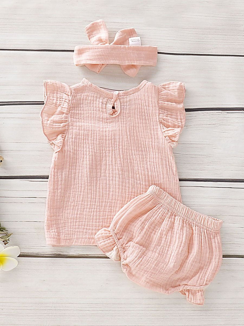3-Piece Infant Baby Muslin Outfit Ruffle Top+Shorts+Headband