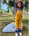 5 Colors Pockets Knitted Trousers Jumpsuit Baby Toddler Girls Boys Overalls