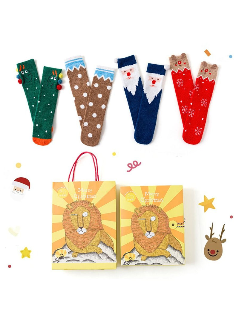4-PACK Christmas Gift Family Matching Thememid-calf Length Socks