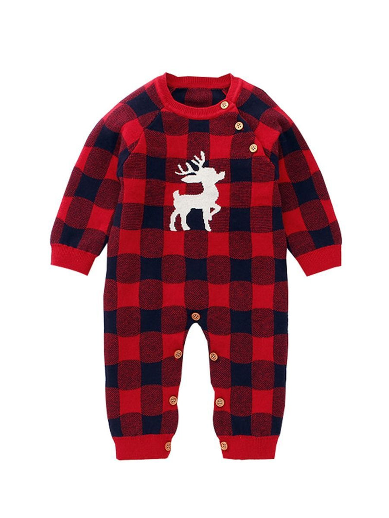 Checked  Knitted Overalls-Red