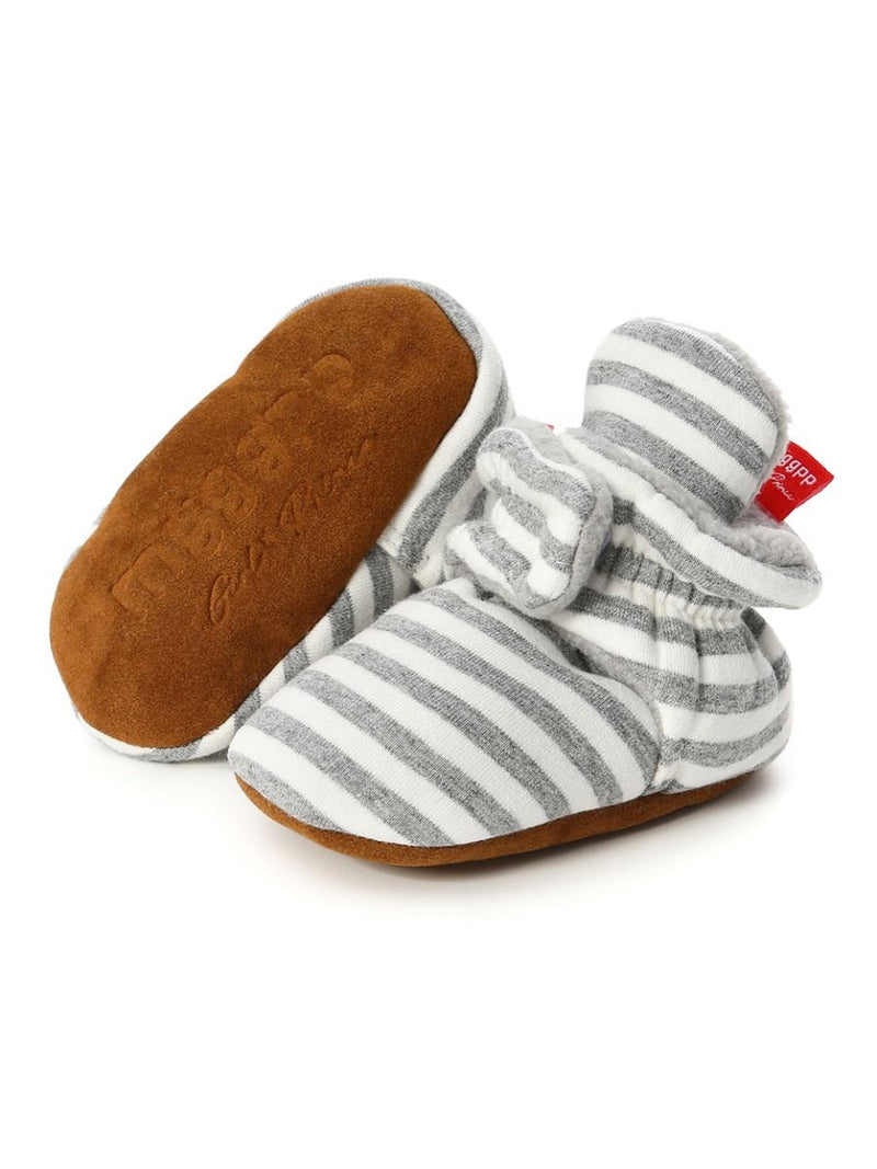 Adorable Baby Stripe Furry Pre-walker Shoes