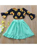 Autumn 3-Piece Infant Toddler Girl Outfits Flower Top + Pink Ruffle Shorts + Wrap Bowknot Skirt
