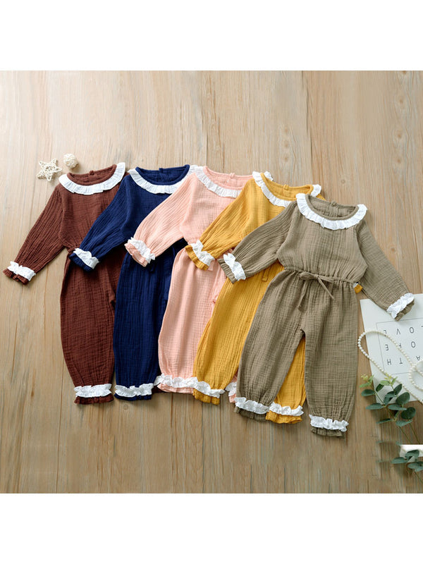 Autumn Multi-colored Ruffled Tie-waist Muslin Baby Girls Jumpsuit