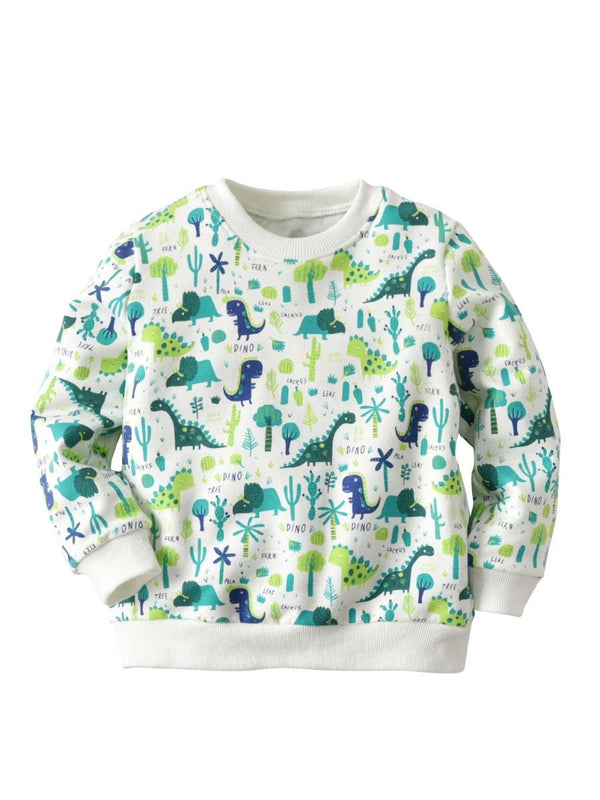 Simple Dinosaur Plants Pullover Tee Autumn Winter Kids Unisex Cotton Sweatshirt Tops