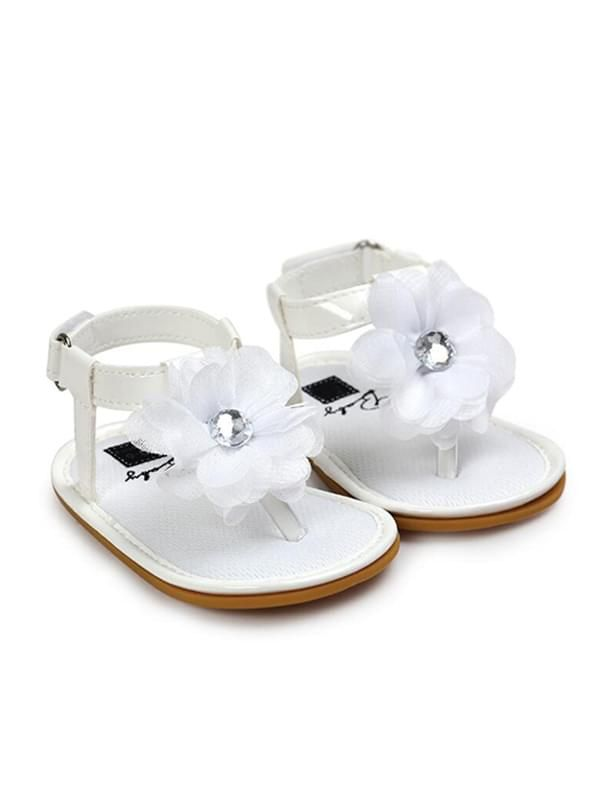 Baby Girls Crib Shoes Sandals-White