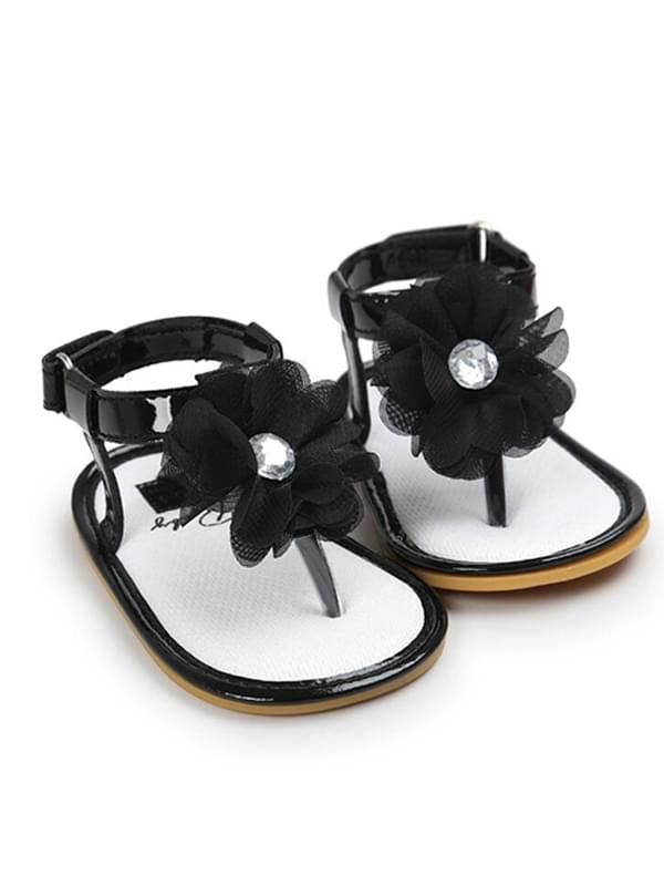 Baby Girls Crib Shoes Sandals-Black