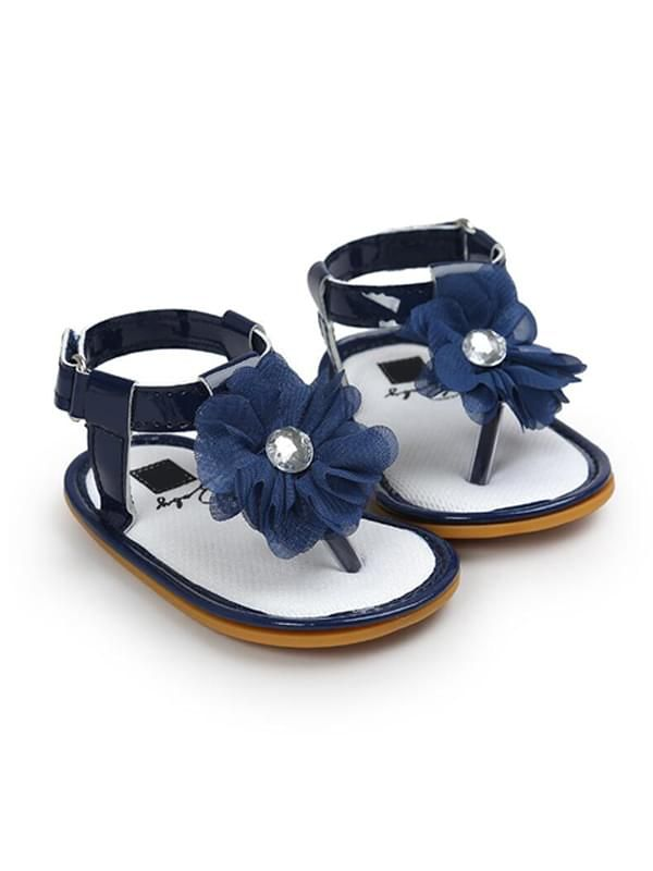 Baby Girls Crib Shoes Sandals-Blue