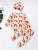 Baby 3-Piece Outfits Goat & Fox Printed Bodysuit+Pants+Hat