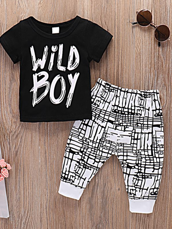 Baby Boy 2-piece Outfit Black T-Shirt+Lycra Striped Pants