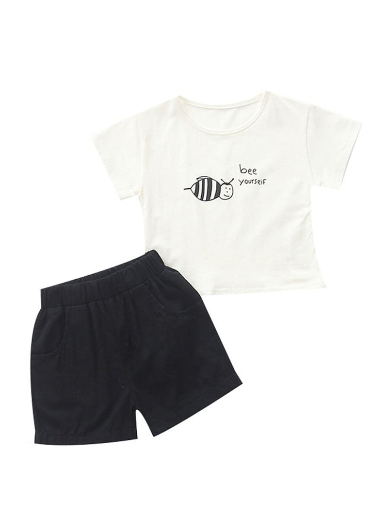 Baby Boy Clothes 2-Piece Outfits Set Bee Yourself T-shirt+Short Pants Summer