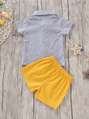 2-Piece Baby Toddler Boys Outfit Bow Turn Down Collar Shirt and Yellow Shorts
