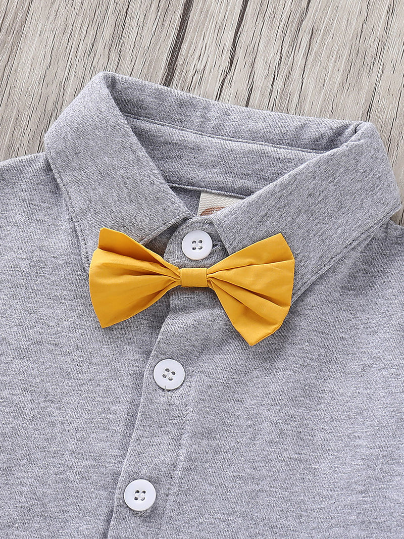 Baby Boys-Bow Turn Down Collar Shirt