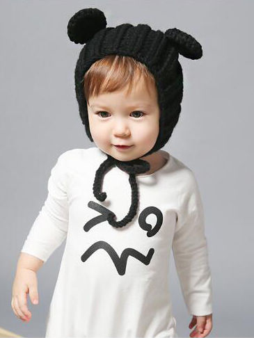 Baby Knitted Hat-black